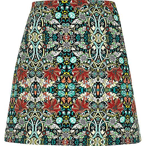 Green floral print pelmet skirt