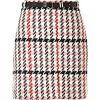 Pink checked woven mini skirt