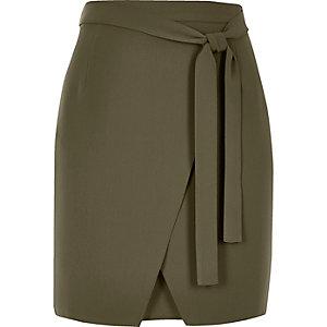 Khaki wrap mini skirt