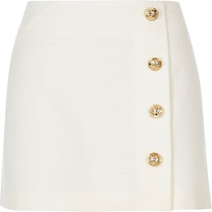 White buttoned pelmet skirt