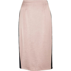 Light pink side stripe pencil skirt