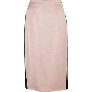 Light pink side stripe pencil skirt