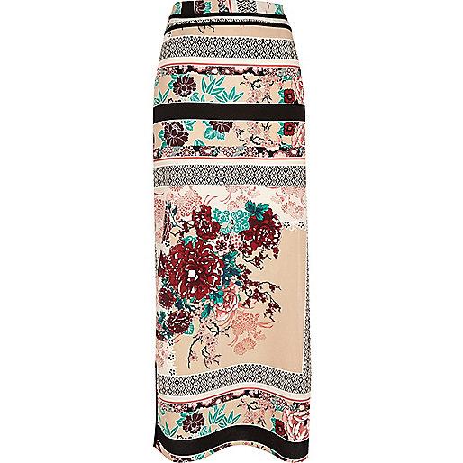 Pink oriental print maxi skirt