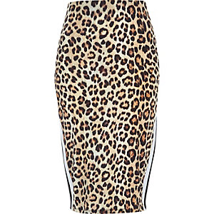 Brown leopard print stripe panel pencil skirt