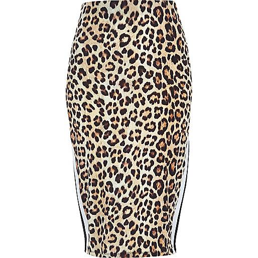 Jupe crayon à imprimé léopard marron avec empiècement rayé