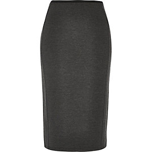 Dark grey smart ponte pencil skirt