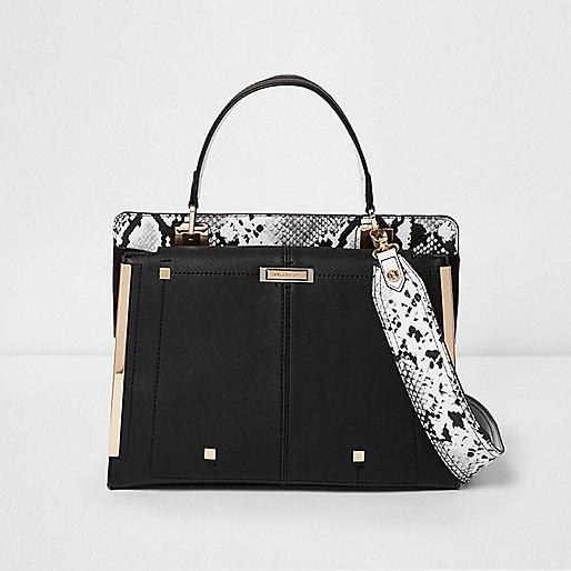 Black snake print boxy handbag