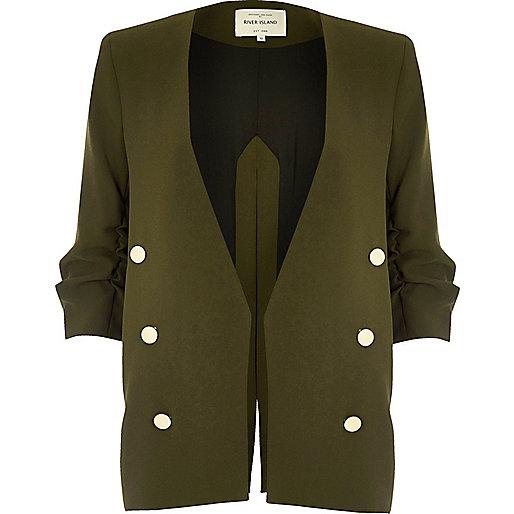 Khaki split back military blazer