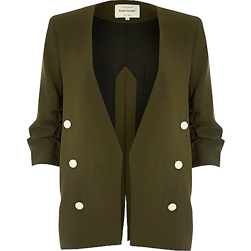 Khaki split back military blazer