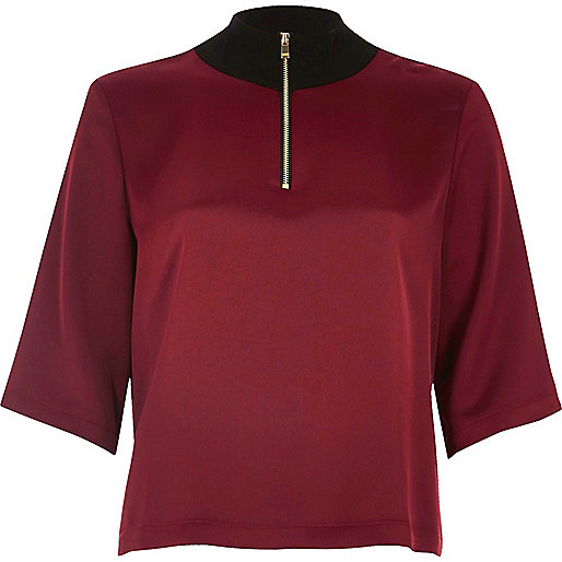 Dark red wide sleeve high neck top