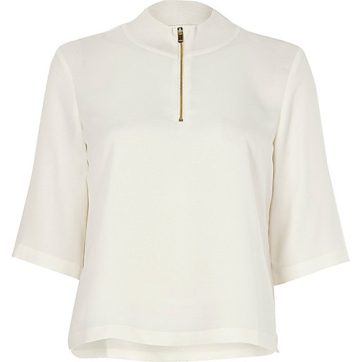 White wide sleeve high neck top