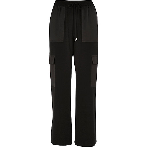 Black woven combat trousers
