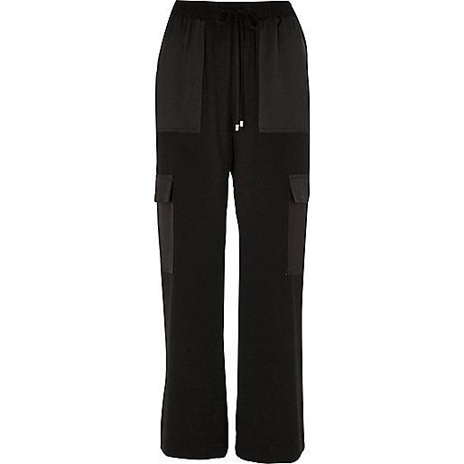 Pantalon noir tissé style militaire