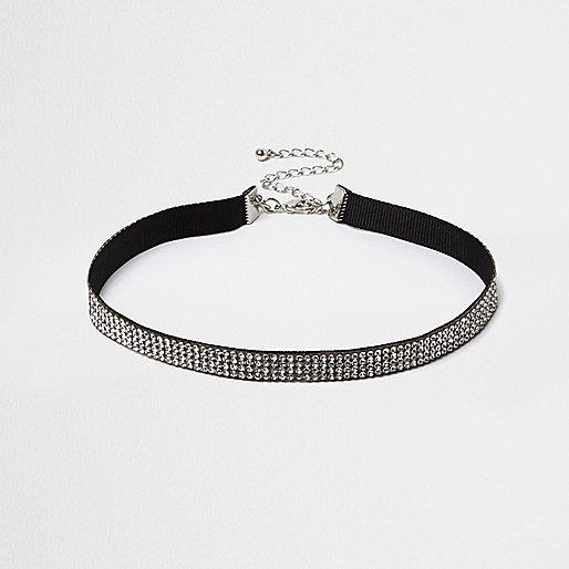 Black diamanté stretch choker