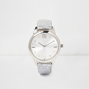 Silver glitter gem encrusted watch