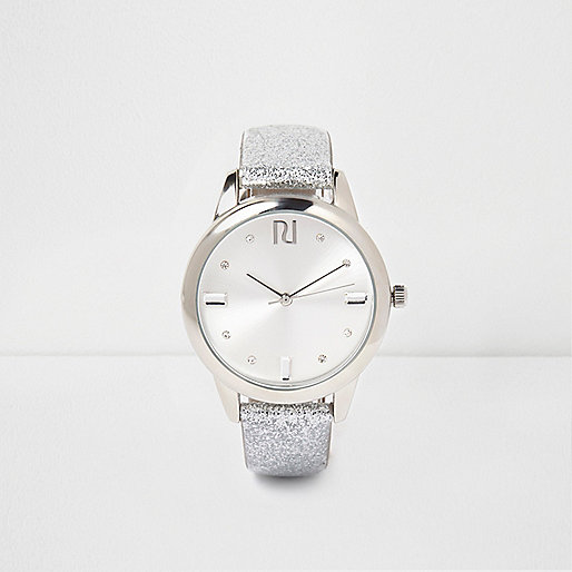 Silver glitter gem encrusted watch