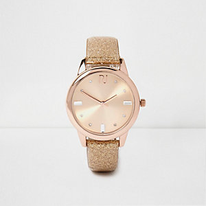 Rose gold glitter gem encrusted watch