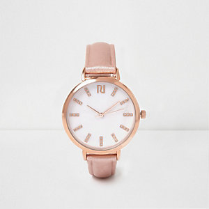 Rose gold tone T-bar strap watch