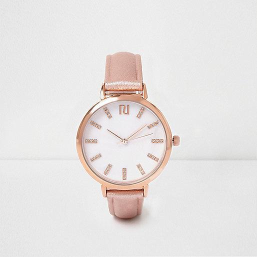 Rose gold tone T-bar strap watch