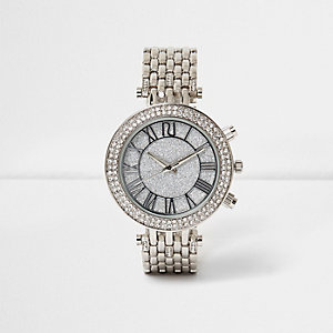 Silver tone glam chain strap watch