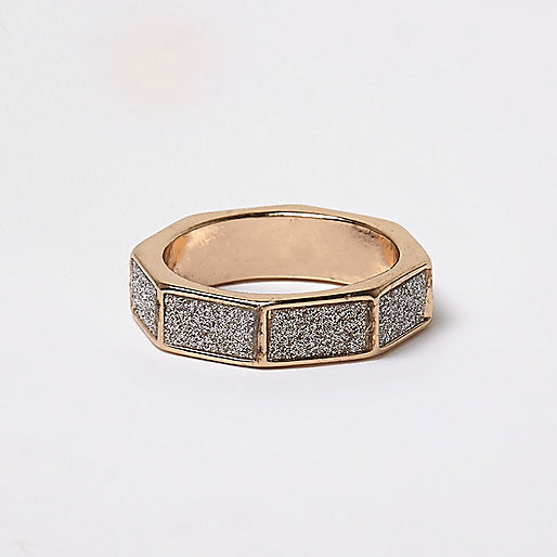 Gold tone glitter hexagonal ring