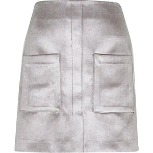 Silver velvet pocket mini skirt