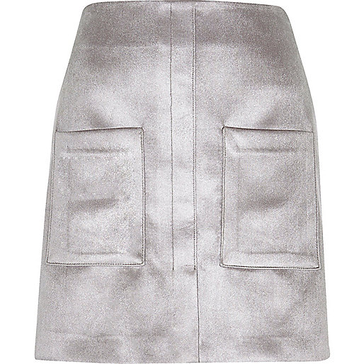Silver velvet pocket mini skirt