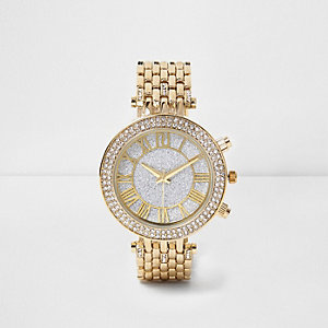 Gold tone diamanté bling watch