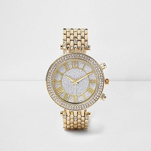Gold tone diamanté bling watch