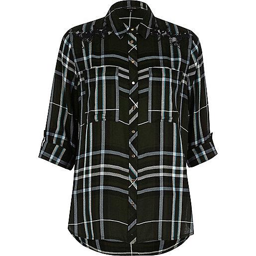 Khaki check relaxed shirt