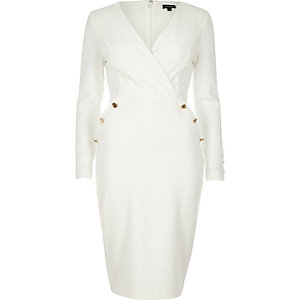 Cream military button wrap dress