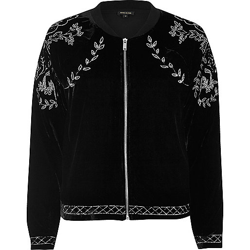 Black velvet embroidered bomber jacket