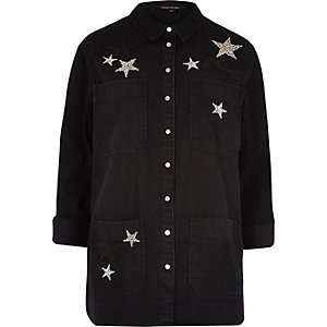 Black denim star embellished shacket