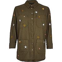 Verzierte Hemdjacke mit Stern in Khaki