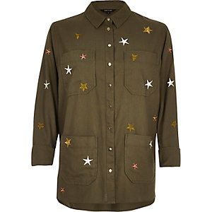 Khaki embroidered star shacket