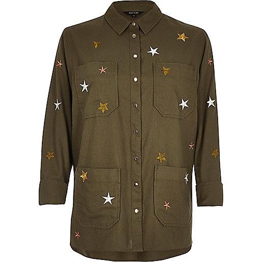 Khaki embroidered star shacket