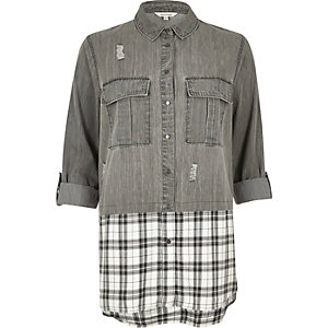 Grey denim check layered shirt