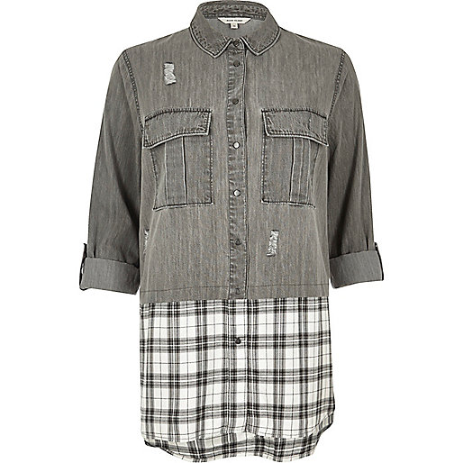 Grey denim check layered shirt