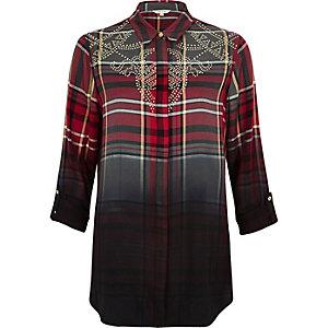 Red dip dye check western shirt