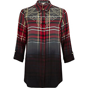 Red dip dye check western shirt