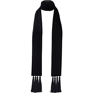 Black velvet tassel long scarf