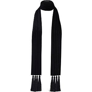 Black velvet tassel long scarf