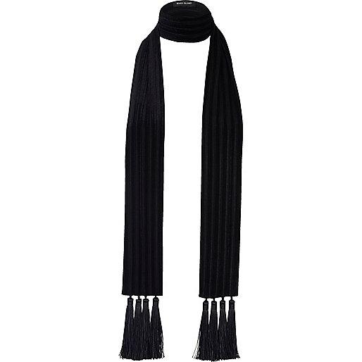 Écharpe longue en velours noir à franges