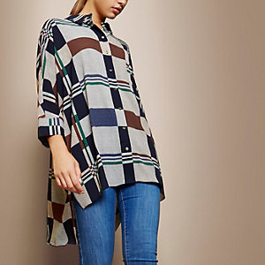 RI Studio blue checked oversized shirt