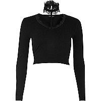 Black lace T-bar crop top