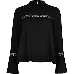 Black bell sleeve top with lace detail