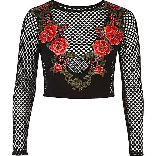Black rose mesh crop top