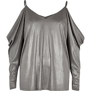 Silver ruched cold shoulder top