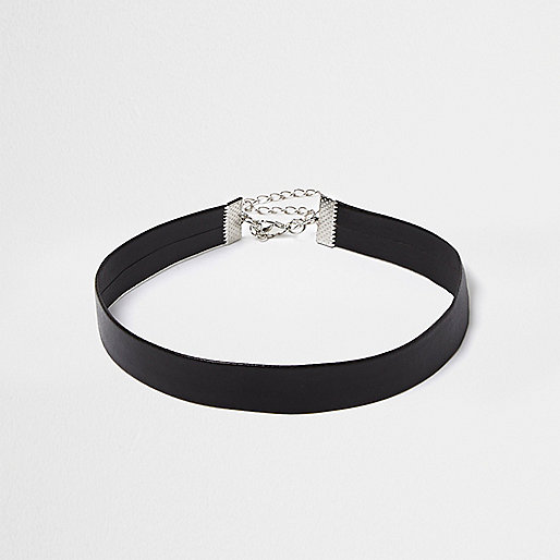 Black thin leather look choker