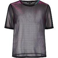Metallic purple sheer T-shirt